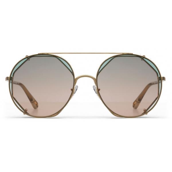 Chloé - Occhiali da Sole in Metallo Demi con Lenti di Base Ottagonali e Lenti - Oro Verde Rosa - Chloé Eyewear