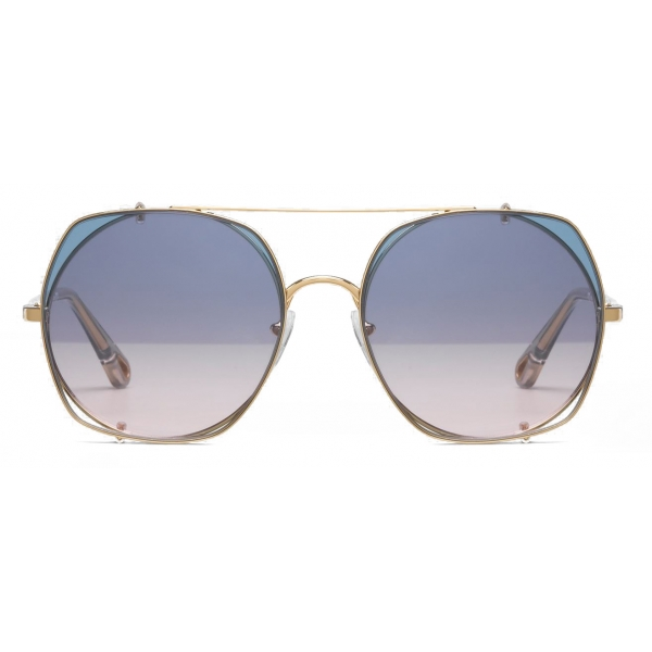 Chloé - Demi Metal Sunglasses with Round Base & Square Clip-On Lenses - Gold Azure Pink - Chloé Eyewear