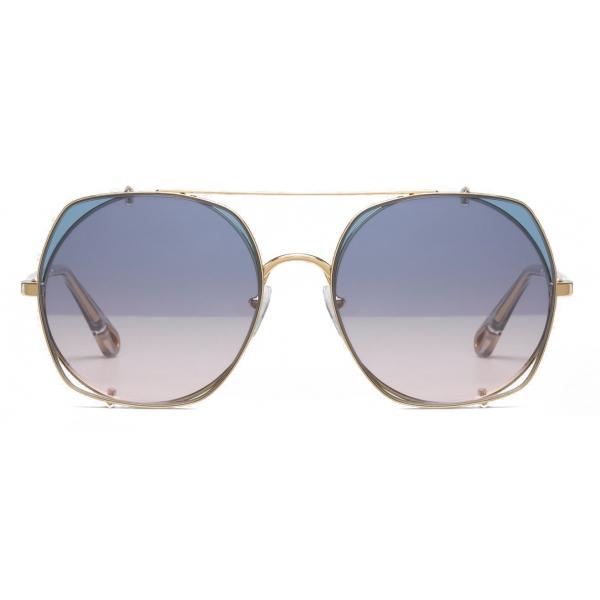 Chloé - Occhiali da Sole in Metallo Demi con Lenti di Base Rotonde e Lenti - Oro Azure Rosa - Chloé Eyewear