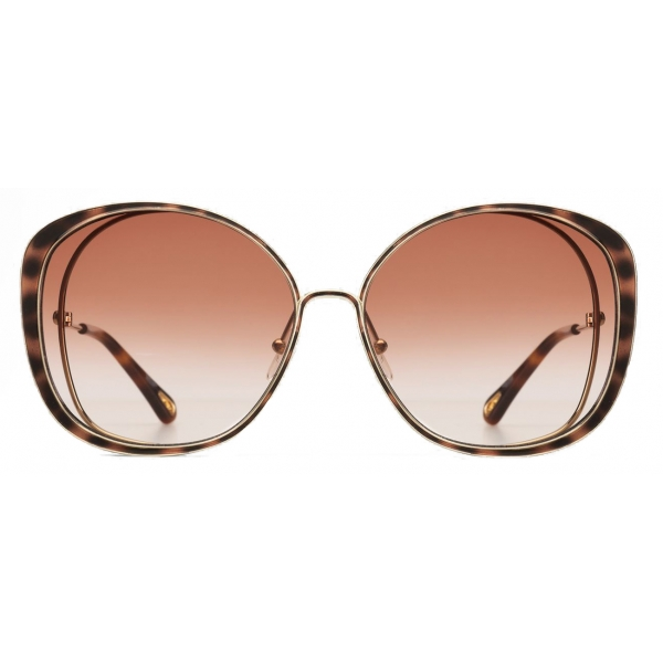 Chloé - Occhiali da Sole Cat-Eye Hanah in Metallo - Oro Havana Peach - Chloé Eyewear