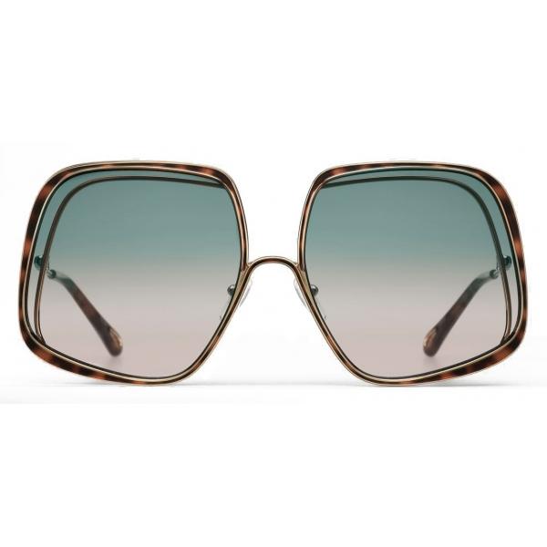 Chloé - Hanah Square Metal Sunglasses - Gold Havana Green Pink - Chloé Eyewear
