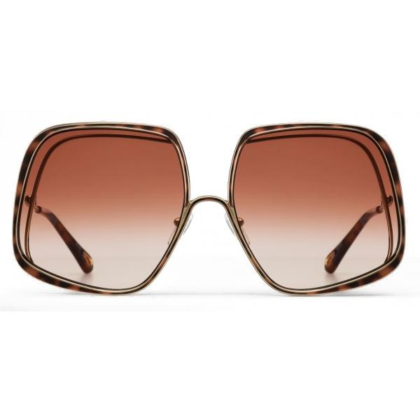 Chloé - Hanah Square Metal Sunglasses - Gold Havana Peach - Chloé Eyewear