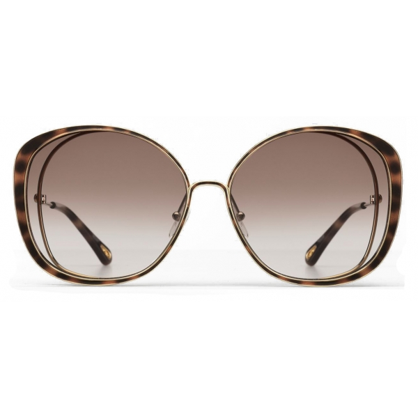 Chloé - Occhiali da Sole Cat-Eye Hanah in Metallo - Oro Havana Marrone - Chloé Eyewear