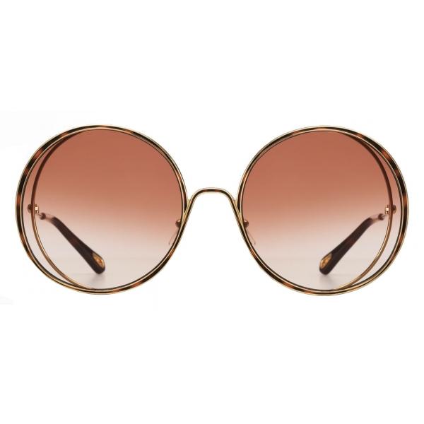 Chloé - Hanah Round Sunglasses in Metal - Gold Havana Peach - Chloé Eyewear