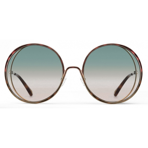 Chloé - Hanah Round Sunglasses in Metal - Gold Havana Green Pink - Chloé Eyewear