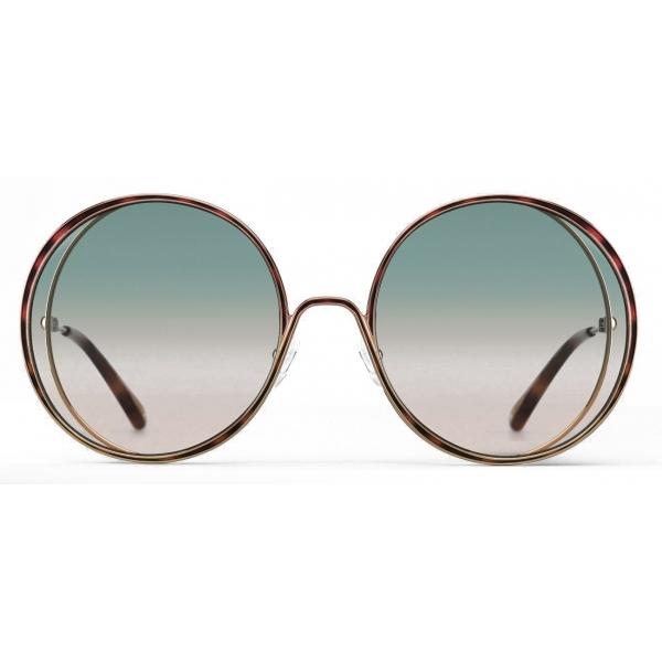 Chloé - Occhiali da Sole Rotondi Hanah in Metallo - Oro Havana Verde Rosa - Chloé Eyewear
