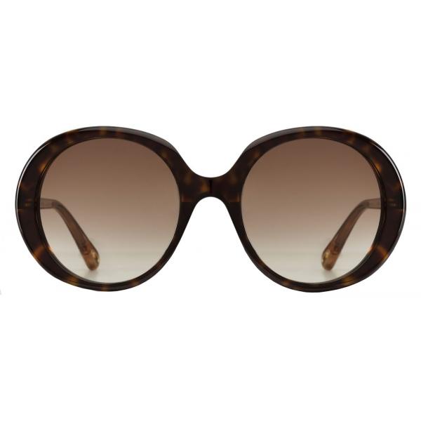 Chloé - Esther Oval Sunglasses for Women in a Bio-based Material - Dark Havana Brown - Chloé Eyewear