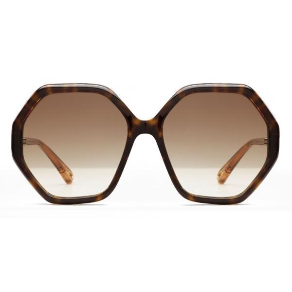 Chloé - Esther Octagonal Sunglasses for Women in a Bio-based Material - Dark Havana Brown - Chloé Eyewear