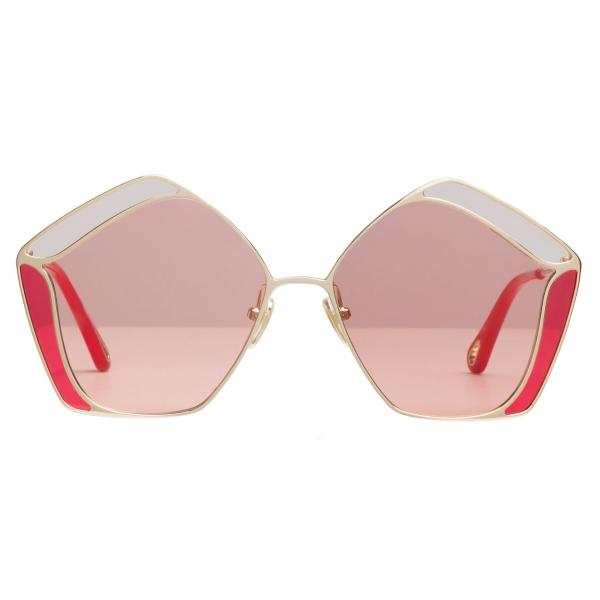 Chloé - Occhiali da Sole Pentagonali da Donna Gemma in Metallo - Oro Rosa - Chloé Eyewear