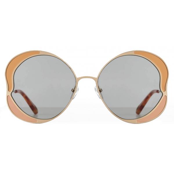 Chloé - Gemma Round Sunglasses in Metal - Rose Gold Grey - Chloé Eyewear