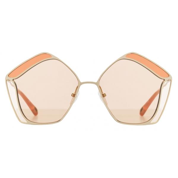 Chloé - Gemma Pentagon Sunglasses for Women in Metal - Gold Nude - Chloé Eyewear