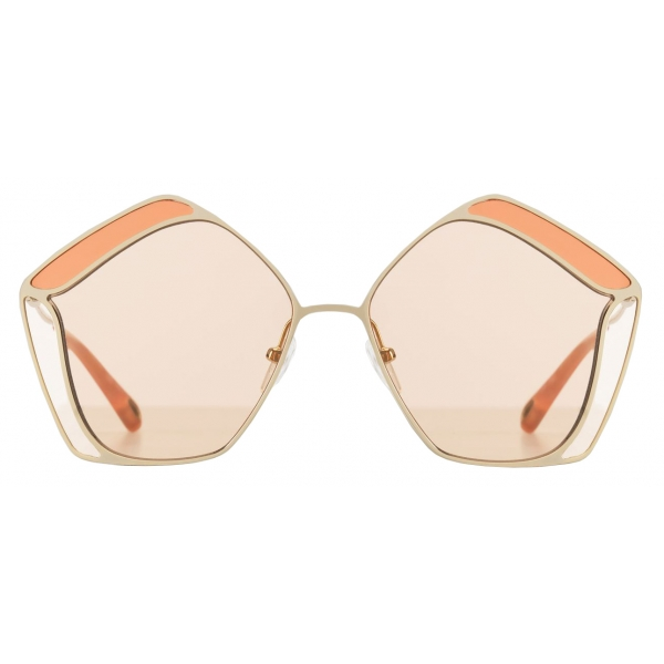Chloé - Occhiali da Sole Pentagonali da Donna Gemma in Metallo - Oro Nude - Chloé Eyewear