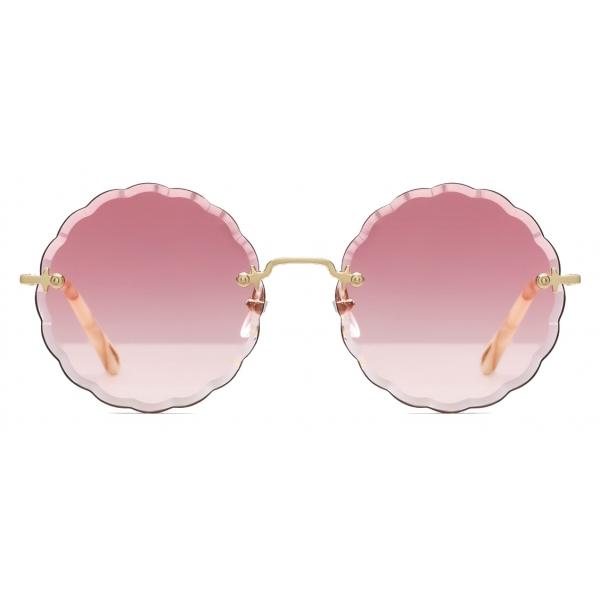 Chloé - Rosie Round Sunglasses in Metal - Gold Pink - Chloé Eyewear