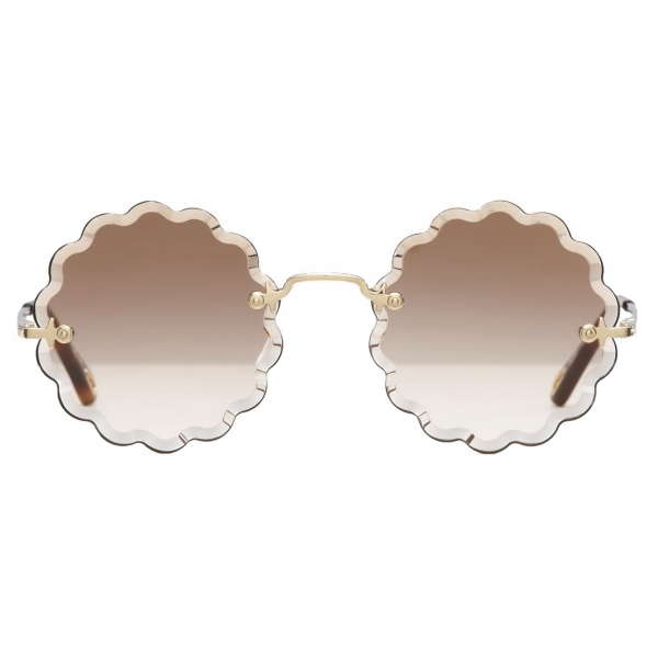 Chloé - Occhiali da Sole Rotondi Rosie Petite in Metallo - Oro Marrone - Chloé Eyewear