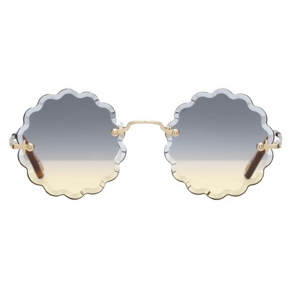Chloé - Occhiali da Sole Rotondi Rosie Petite in Metallo - Oro Grigio Arancione - Chloé Eyewear