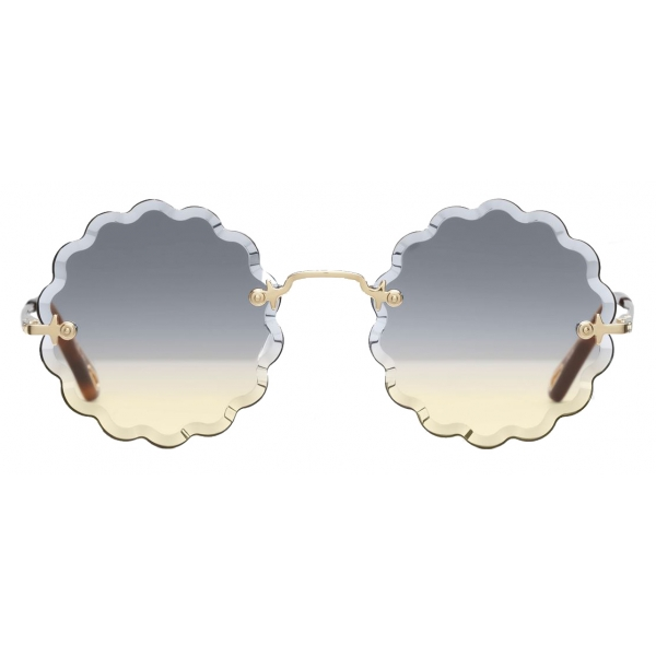Chloé - Rosie Petite Round Sunglasses in Metal - Gold Grey Orange - Chloé Eyewear