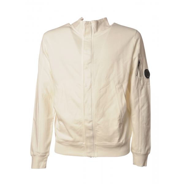 C.P. Company - Sweatshirt with Front Zip Closure and Snap Buttons - Cream - Luxury Exclusive Collection