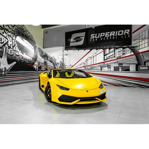 Superior Car Rental - Lamborghini Huracan Spider - Yellow - Exclusive Luxury Rent