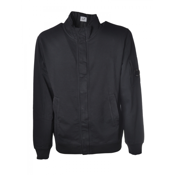 C.P. Company - Sweatshirt with Front Zip Closure and Snap Buttons - Blue - Luxury Exclusive Collection