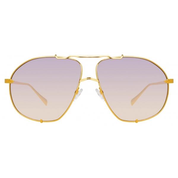 The Attico - The Attico Mina Occhiali da Sole Oversize in Oro Chiaro - ATTICO13C3SUN - The Attico Eyewear by Linda Farrow