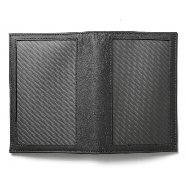 TecknoMonster - Passport Case - Aeronautical and Leather Carbon Fiber Wallet - Luxury - Handmade in Italy