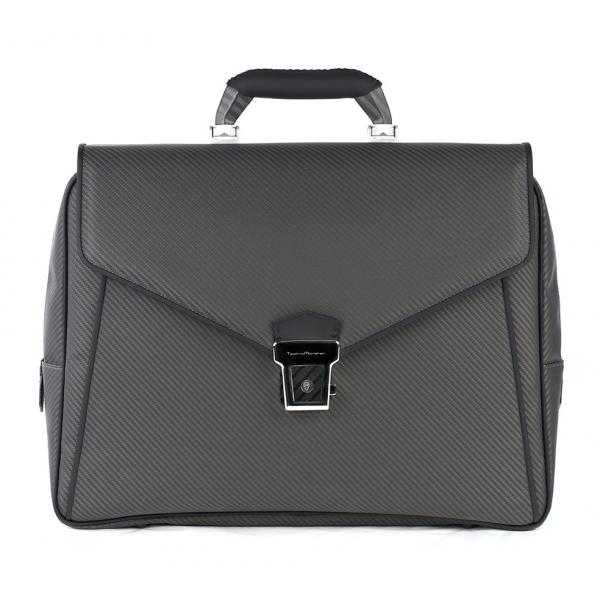 TecknoMonster - Avia Slim - Business Bag in Aeronautical and Leather Carbon Fiber - Luxury - Handmade in Italy