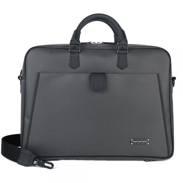 TecknoMonster - Avionika - Business Bag in Aeronautical and Leather Carbon Fiber - Luxury - Handmade in Italy