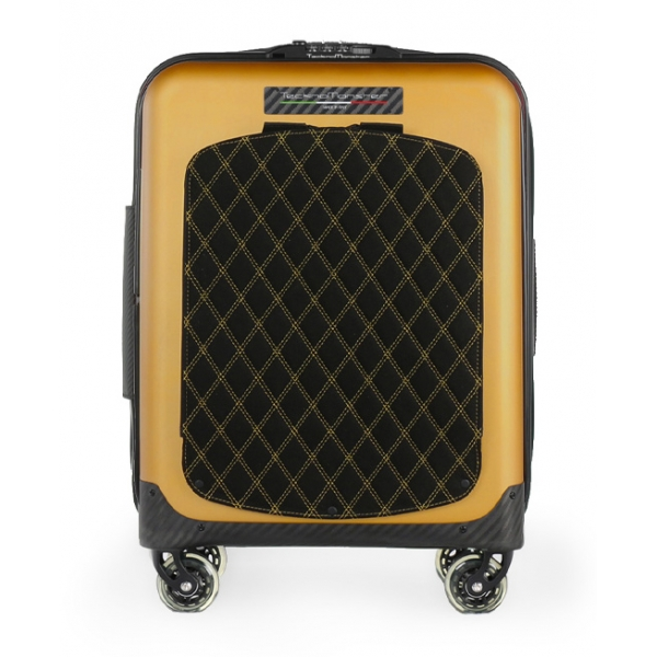 TecknoMonster - Trolley Akille Flap Gold in Carbon Fiber - Aeronautical Carbon Trolley Suitcase