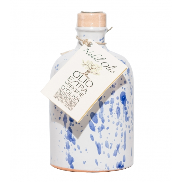 Urselli Food - Nobil Olio - Blue - Extra Virgin Olive Oil - Artisan Ceramics - Italian High Quality Oil - Puglia - 500 ml