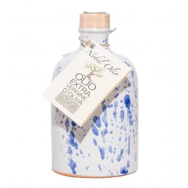 Urselli Food - Nobil Olio - Blue - Extra Virgin Olive Oil - Artisan Ceramics - Italian High Quality Oil - Puglia - 250 ml