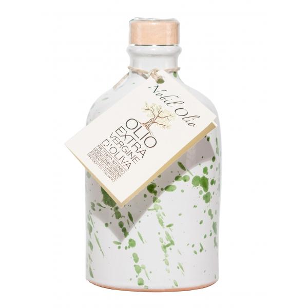 Urselli Food - Nobil Olio - Verde - Olio Extravergine d'Oliva - Ceramica Artigianale - Alta Qualità Italia - Puglia - 250 ml