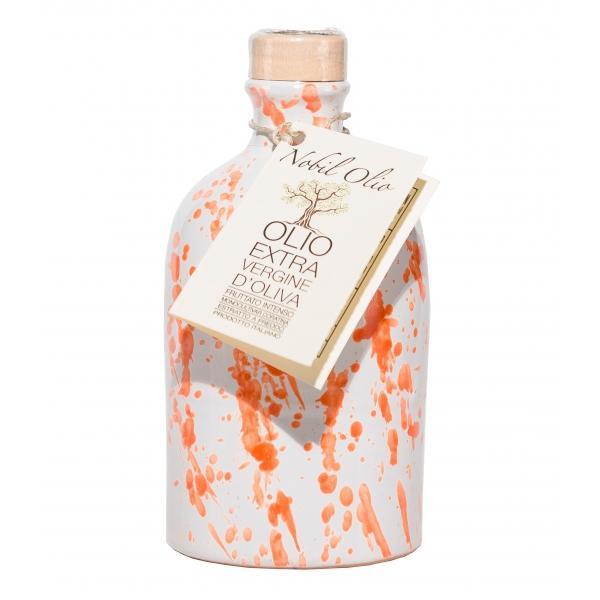 Urselli Food - Nobil Olio - Arancione - Olio Extravergine d'Oliva - Ceramica Artigianale - Alta Qualità Italia - Puglia - 250 ml