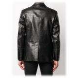 Jovanny Capri - Magnifica Giacca Motivo a Coccodrillo - Giacca in Pelle - Alta Qualità Luxury