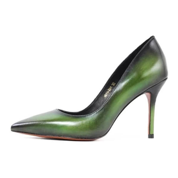 Jovanny Capri - Beautiful Shoes - Green - Women's Stiletto - Patina Effect - Leather Shoes - Luxury High Quality