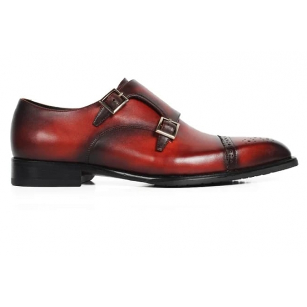Jovanny Capri - Double Monk Shoes - Patina Effect - Handmade in Italy - Leather Shoes - Luxury High Quality