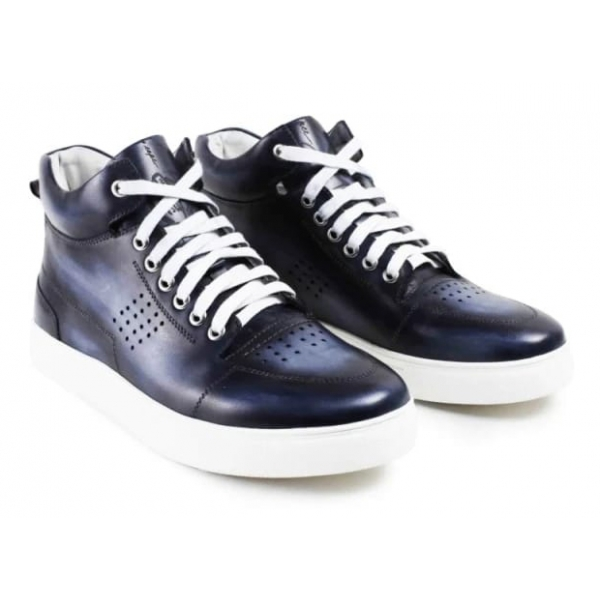 Jovanny Capri - Boot Sneakers Shoes - Patina Effect - Handmade in Italy - Leather Shoes - Luxury High Quality