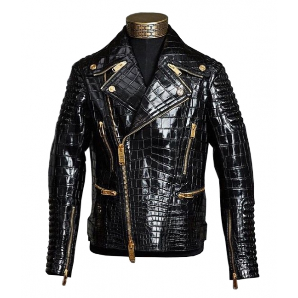 Jovanny Capri - Magnificent Biker Jacket with Crocodile Motif - Leather Jacket - Luxury High Quality