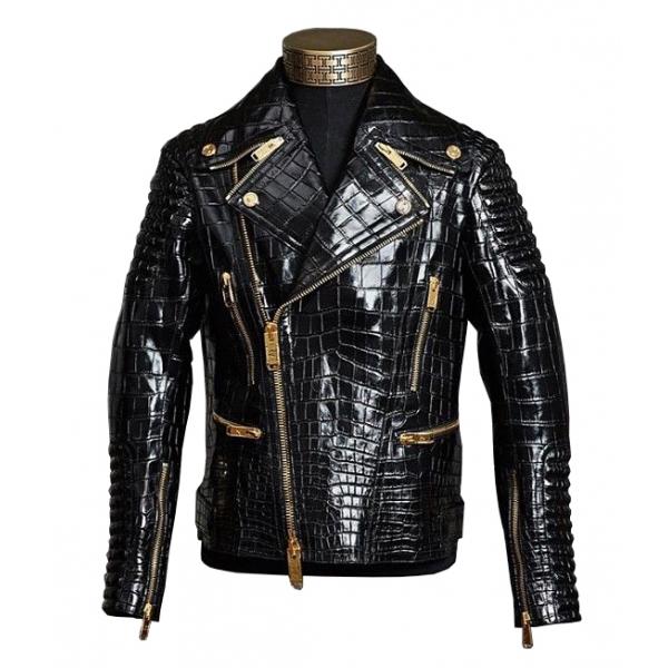 Jovanny Capri - Magnifica Giacca da Motociclista con Motivo a Coccodrillo - Giacca in Pelle - Alta Qualità Luxury