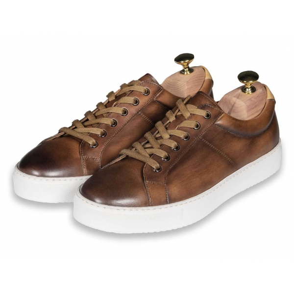 Jovanny Capri - Sneakers Shoes - Patina Effect - Handmade in Italy - Leather Shoes - Luxury High Quality