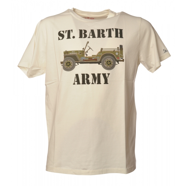 MC2 Saint Barth - Crewneck T-Shirt with St. Barth Army Print - White - Luxury Exclusive Collection