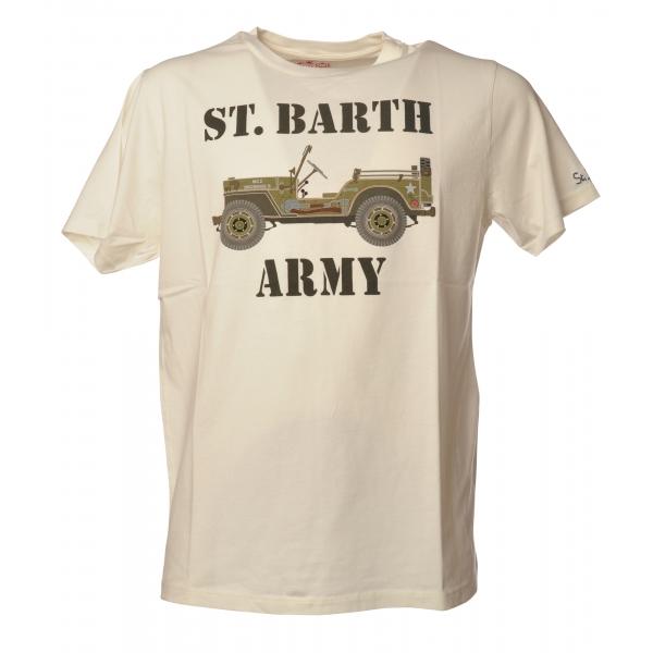 MC2 Saint Barth - T-Shirt Girocollo con Stampa St. Barth Army - Bianca - Luxury Exclusive Collection