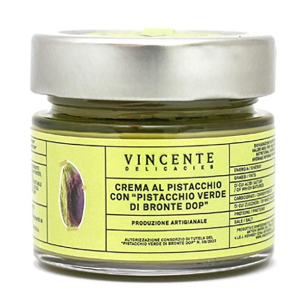 Vincente Delicacies - Sweet Cream Spread with Green Pistachio from Bronte P.D.O. - Artisan Spreadable Creams - 90 g