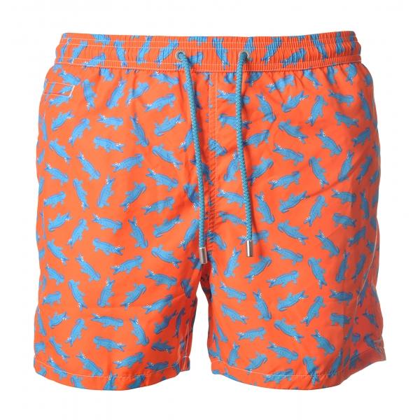 MC2 Saint Barth - Swimsuit Lighting Microfantasy Crocodile - Orange Pattern - Luxury Exclusive Collection