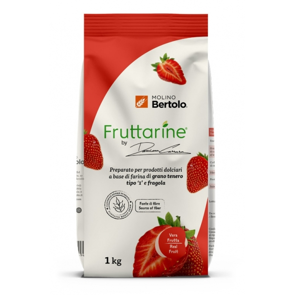 Molino Bertolo - Strawberry Type 1 Flour - Made With Fruit - Type 1 Soft Wheat Flour with Strawberry Flakes - 1 Kg