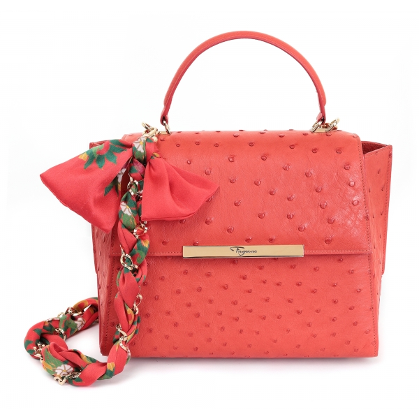 Maison Fagiano - Ostrich Leather - Coral - Artisan Bag - The New City Exclusive Collection - Luxury - Handmade in Italy