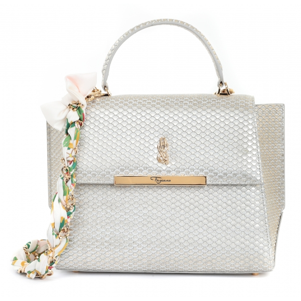 Maison Fagiano - Embossed Calf Leather - Ivory - Artisan Bag - The New City Exclusive Collection - Luxury - Handmade in Italy