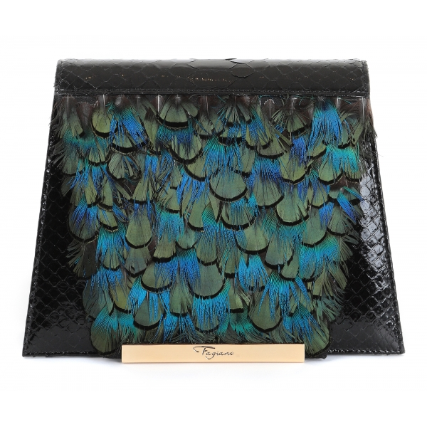 Maison Fagiano - Piume Pitone - Blu Smeraldo / Nero - Borsa Artigianale - New Evening Collection - Luxury - Handmade in Italy
