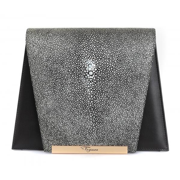 Maison Fagiano - Stingray Nappa - Metallic Grey / Black - Artisan Bag - New Evening Collection - Luxury - Handmade in Italy