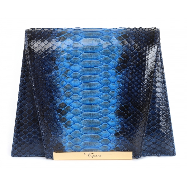Maison Fagiano - Hand Painted Python - Blue Degradé - Artisan Bag - New Evening Collection - Luxury - Handmade in Italy