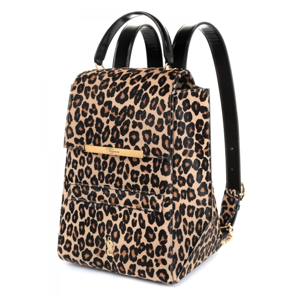 Maison Fagiano - Calf Hair - Leopard Print - Artisan Backpack Bag - New Sport Exclusive Collection - Luxury - Handmade in Italy